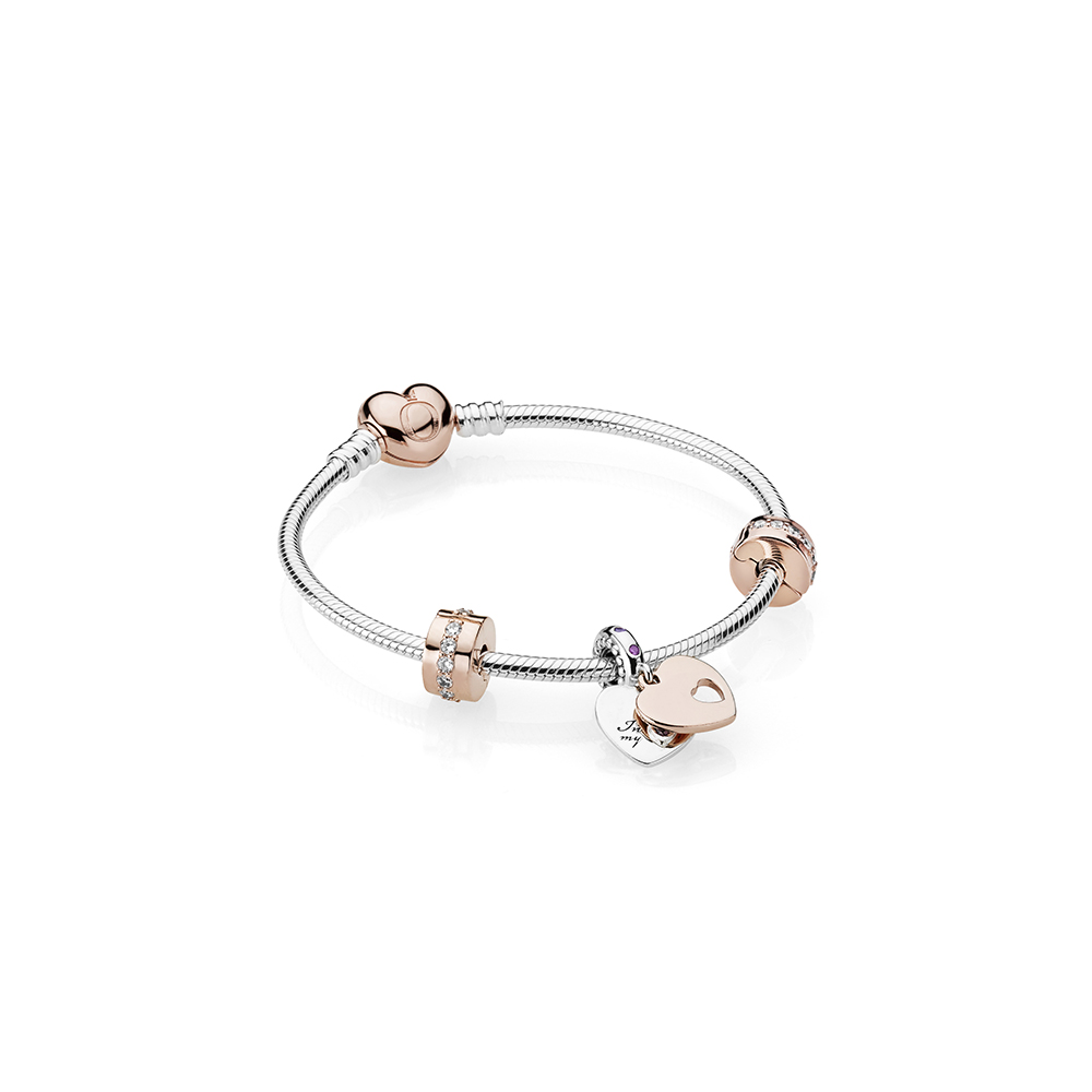 In My Heart Bracelet Gift Set, PANDORA Rose™, Clear CZ and Multi-Colored Crystals, PANDORA Rose, Purple - PANDORA - #B800870