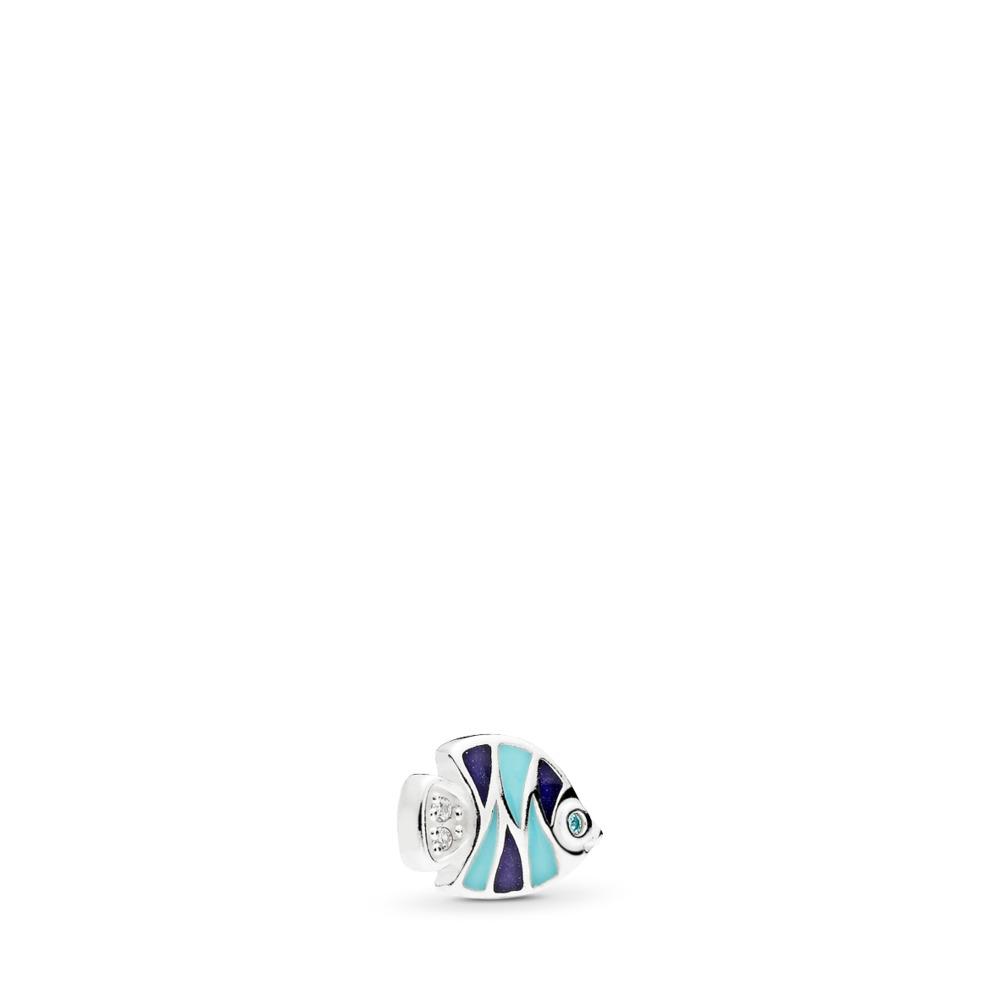 Mini poisson tropical, émaux mixtes et cz multicolores, Argent sterling, émail, Bleu, Zircon cubique - PANDORA - #792181ENMX