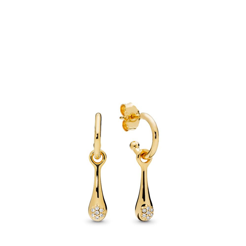 Boucles d'oreilles en PANDORA Shine Modern LovePods, cz incolore, Or Plaqué 18ct, Aucun autre matériel, Aucune couleur, Zircon cubique - PANDORA - #267357CZ
