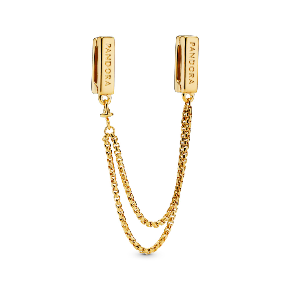 PANDORA Reflexions™ Floating Chains Safety Chain, PANDORA Shine™, 18ct gold-plated sterling silver, Silicone - PANDORA - #767601