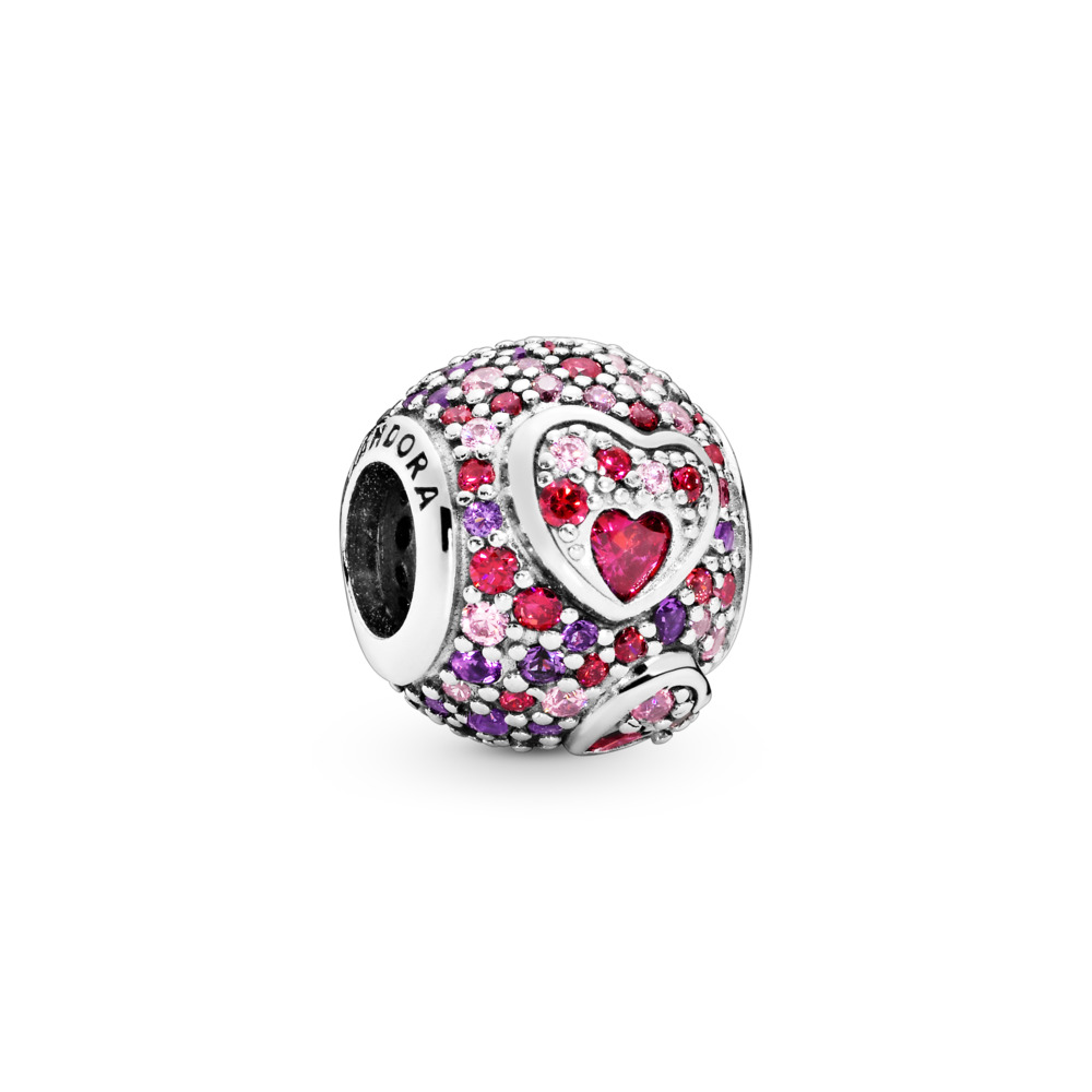 Asymmetric Hearts of Love Charm, Sterling silver, Mixed stones - PANDORA - #797826CZRMX