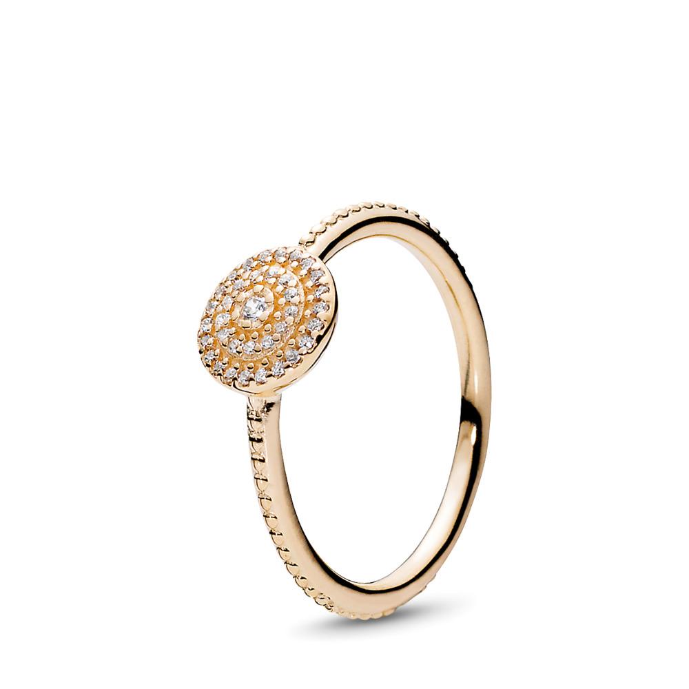 Radiant Elegance, Clear CZ, Yellow Gold 14 k, Cubic Zirconia - PANDORA - #150184CZ