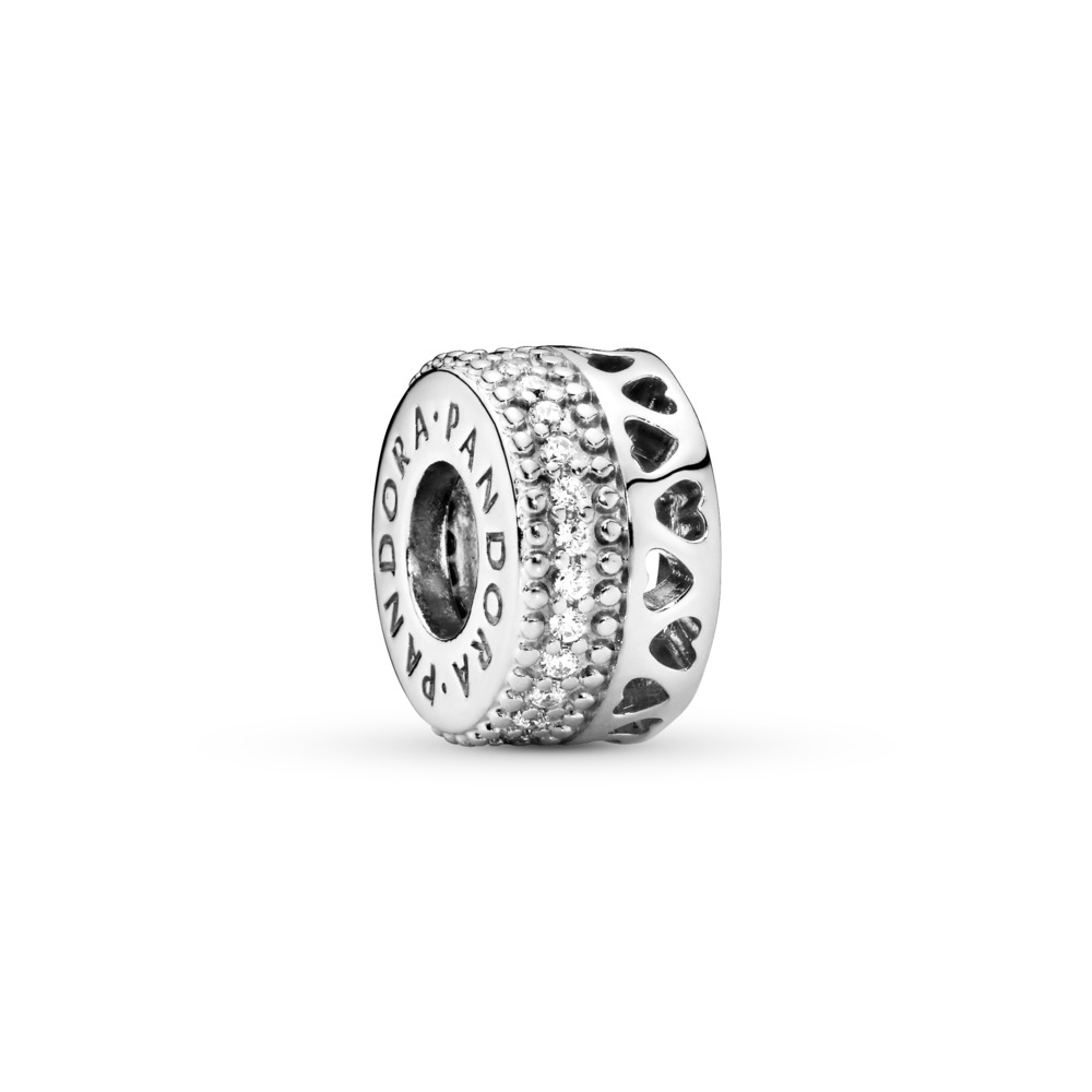 Hearts of PANDORA Spacer, Clear CZ, Sterling silver, Cubic Zirconia - PANDORA - #797415CZ