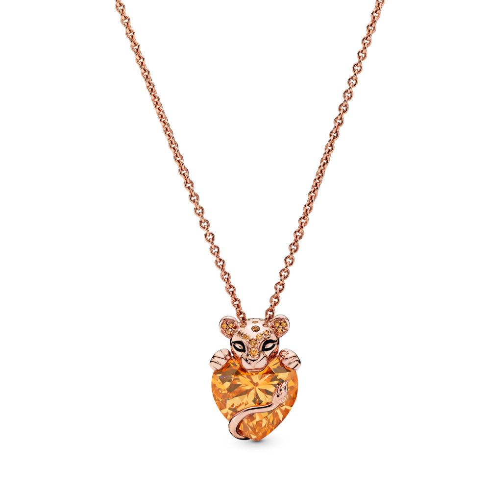 Sparkling Lion Princess Heart Pendant with Chain, PANDORA Rose, Silicone, Black, Cubic Zirconia - PANDORA - #388068CZM
