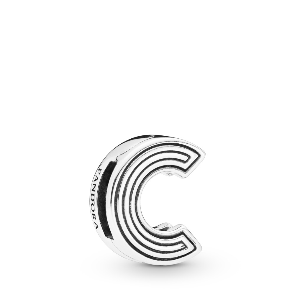 Charm Lettre C Pandora Reflexions, Argent sterling, Silicone, Aucune couleur, Aucune pierre - PANDORA - #798199