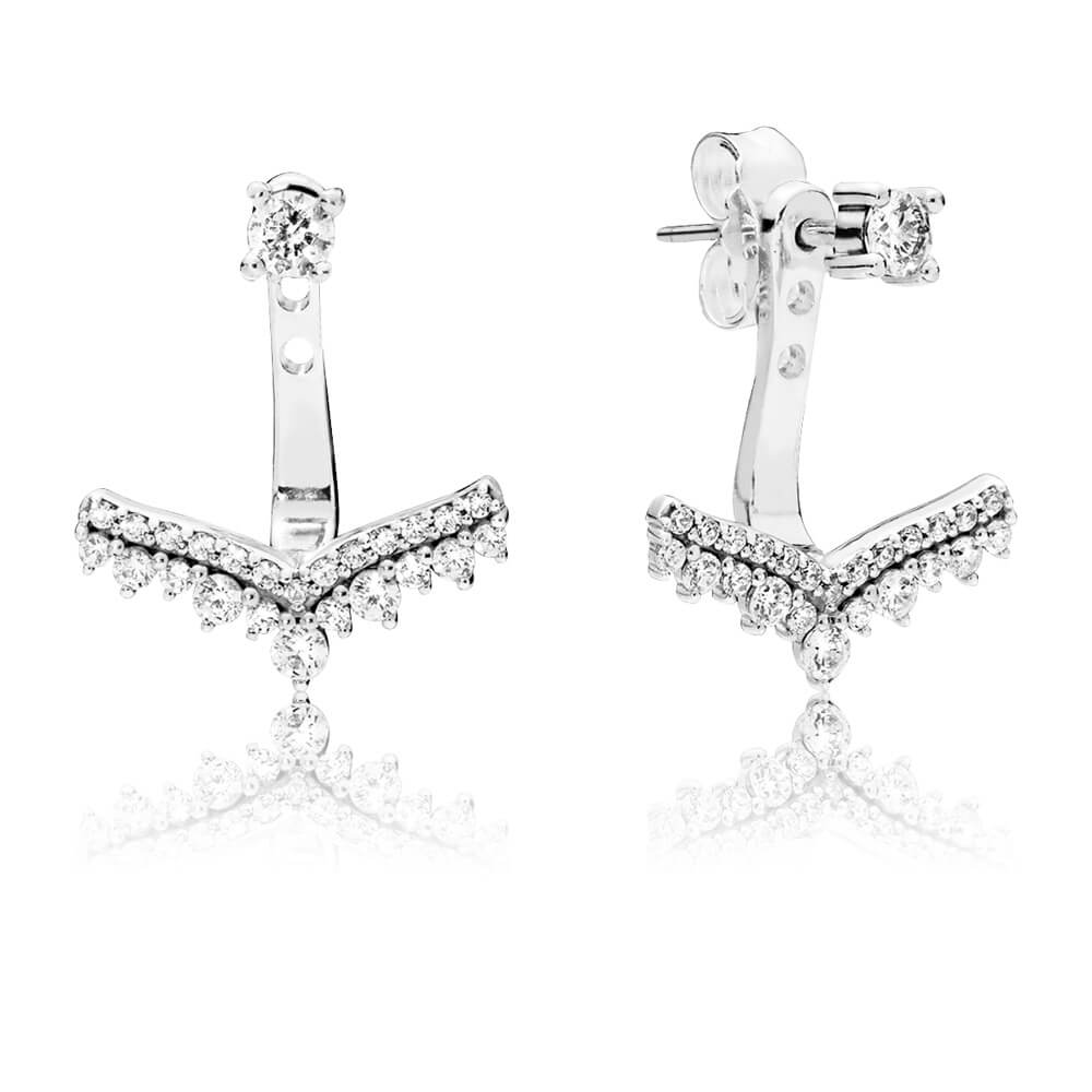 Princess Wish Earrings, Clear CZ