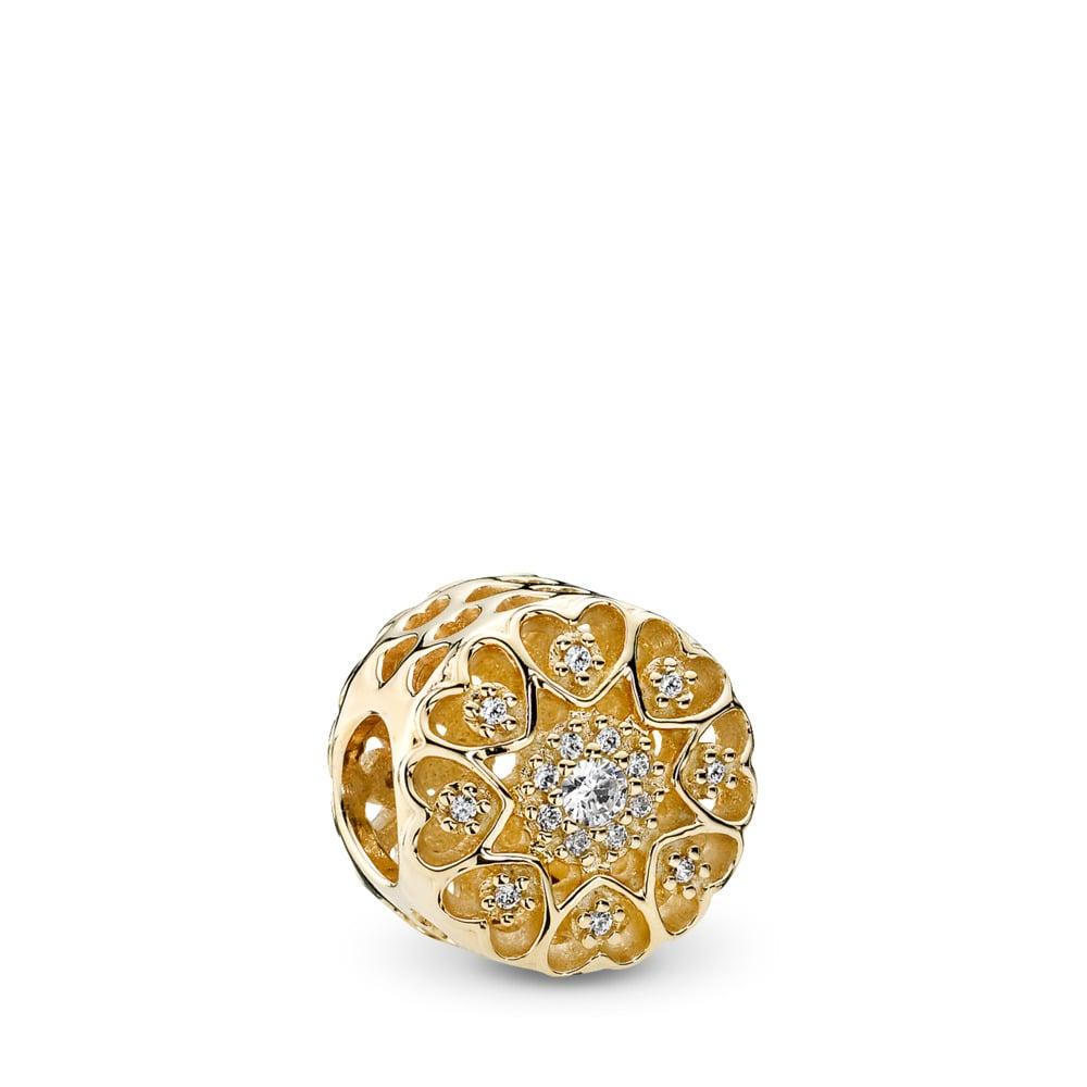 Hearts of Gold, Clear CZ & 14K Gold, Yellow Gold 14 k, Cubic Zirconia - PANDORA - #750841CZ