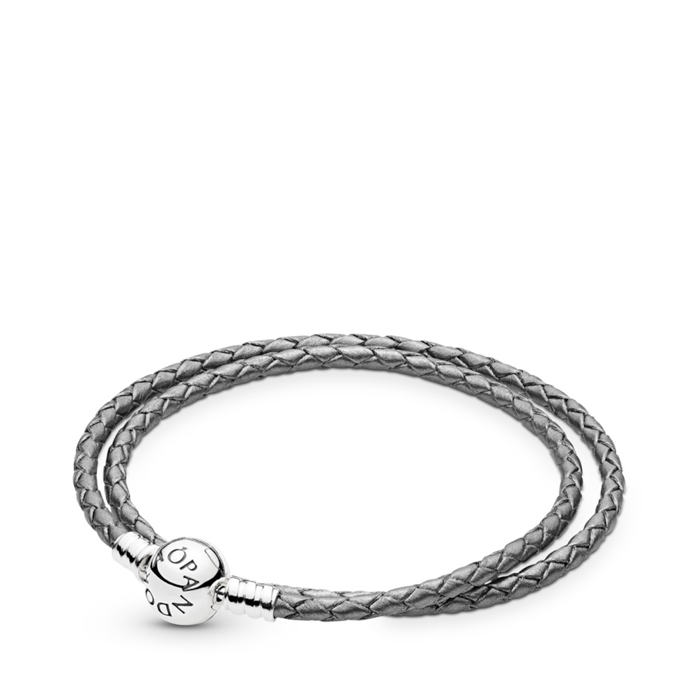dfc5dfcc2 Silver Grey Braided Double-Leather Charm Bracelet, Sterling silver,  Leather, Grey -