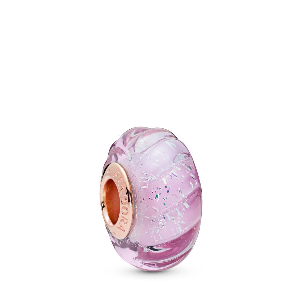 Charm en verre de Murano Rainures scintillantes, PANDORA ROSE, Verre, Rose, Aucune pierre - PANDORA - #788107