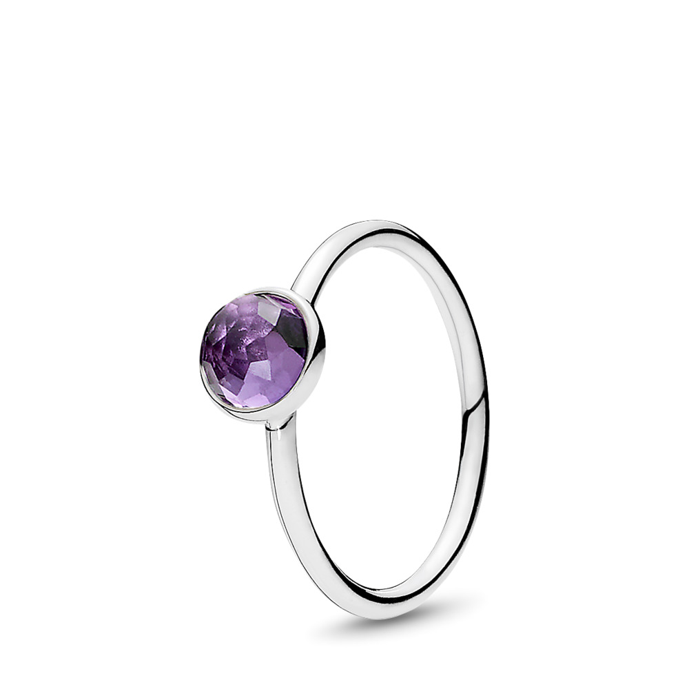 February Droplet, Synthetic Amethyst, Sterling silver, Purple, Synthetic Amethyst - PANDORA - #191012SAM