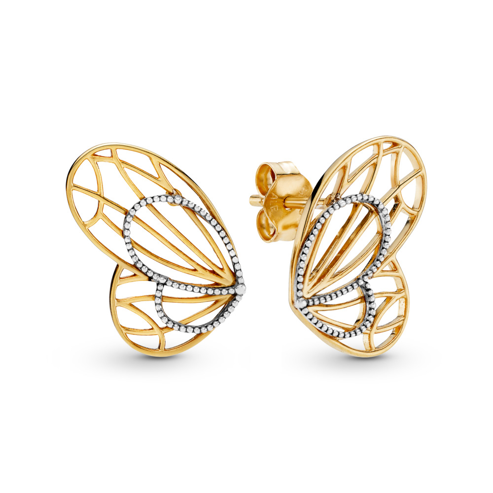 Limited Edition Openwork Butterflies Earrings, PANDORA Shine and sterling silver - PANDORA - #267955