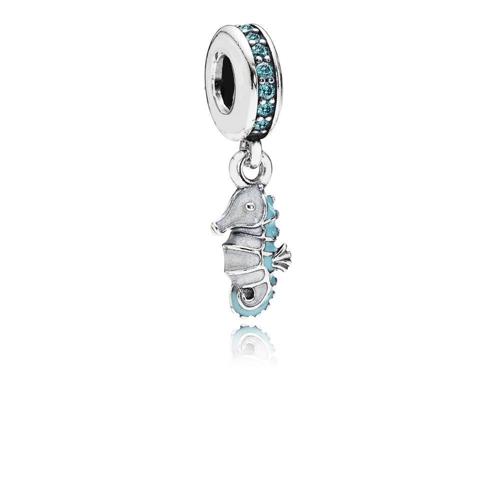 Hippocampe tropical, cz turquoise et émail blanc et turquoise