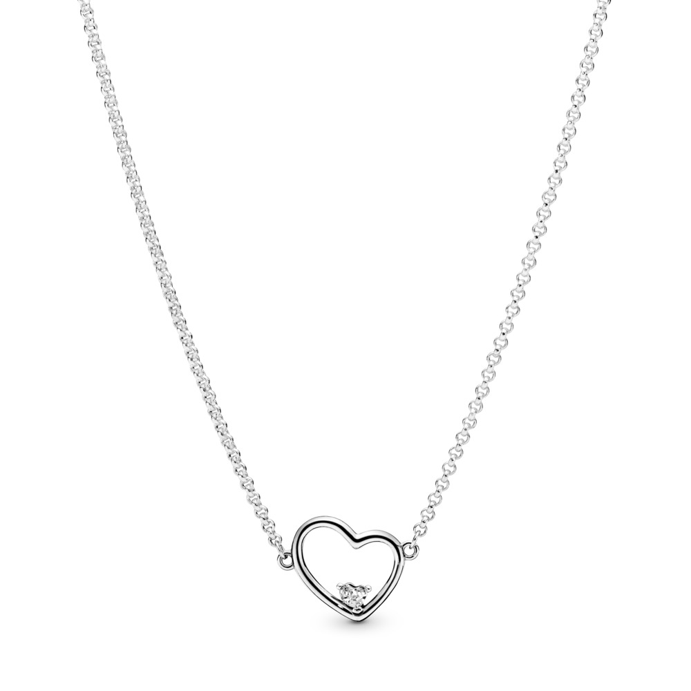 Asymmetric Heart of Love Necklace, Sterling silver, Silicone, Cubic Zirconia - PANDORA - #397797CZ