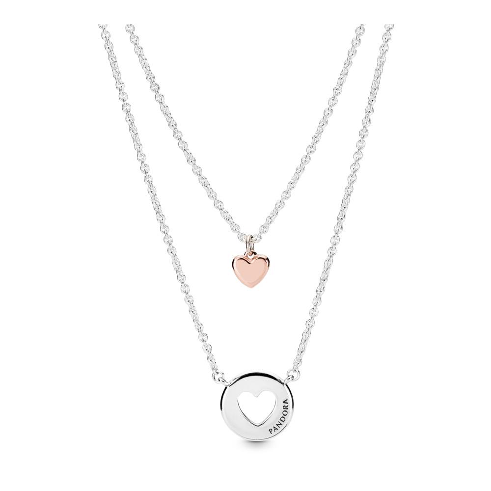 Layered Heart Necklace, PANDORA Rose with sterling silver, Aucun autre matériel, Aucune couleur, Aucune pierre - PANDORA - #388083-50