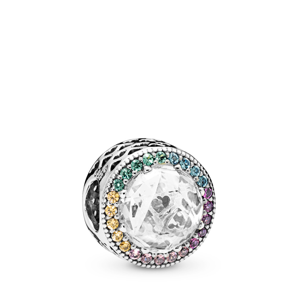 Multi-colour Radiant Hearts Charm, Multi-coloured CZ, Sterling silver, Blue, Mixed stones - PANDORA - #791725CZMX
