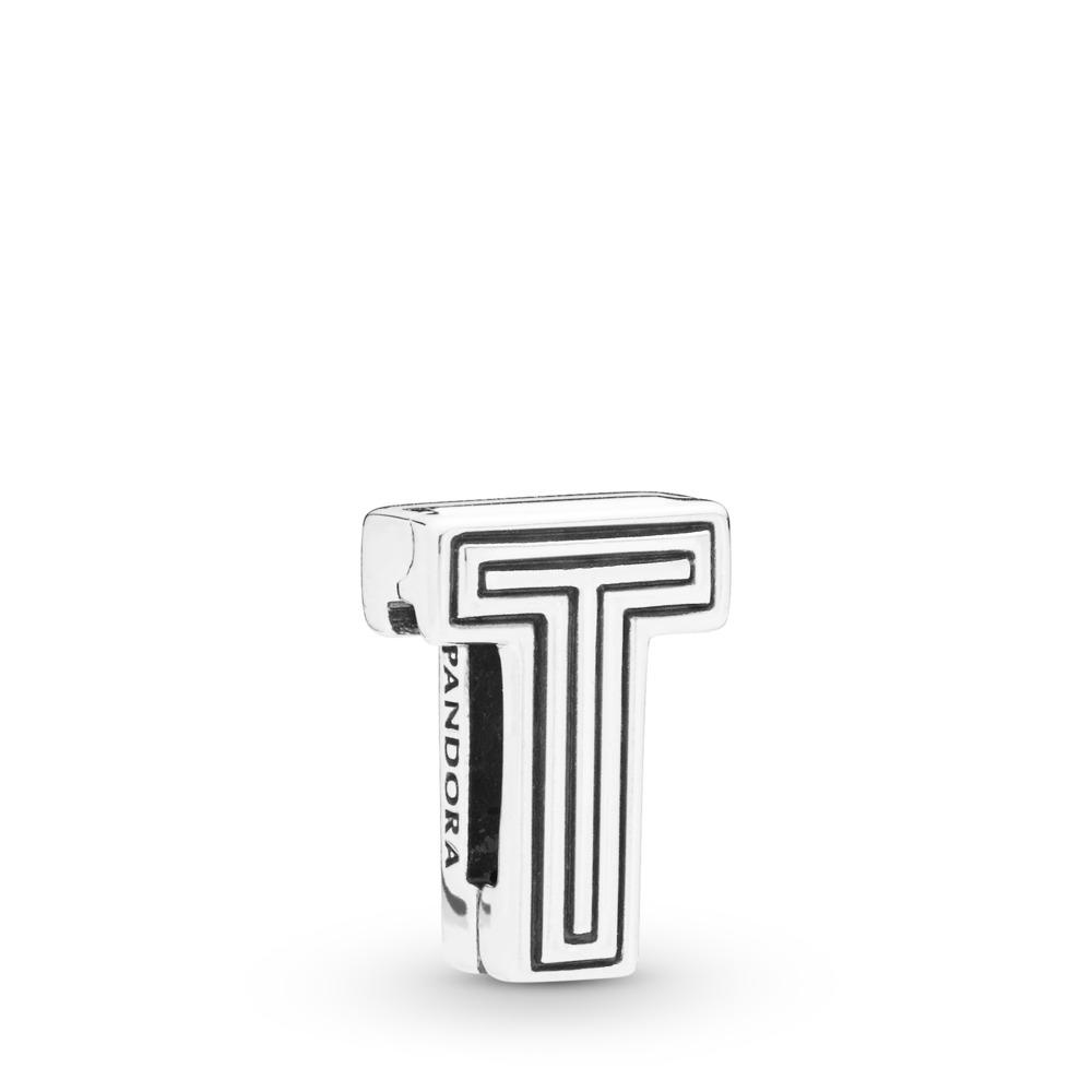 Charm Lettre T Pandora Reflexions, Argent sterling, Silicone, Aucune couleur, Aucune pierre - PANDORA - #798216