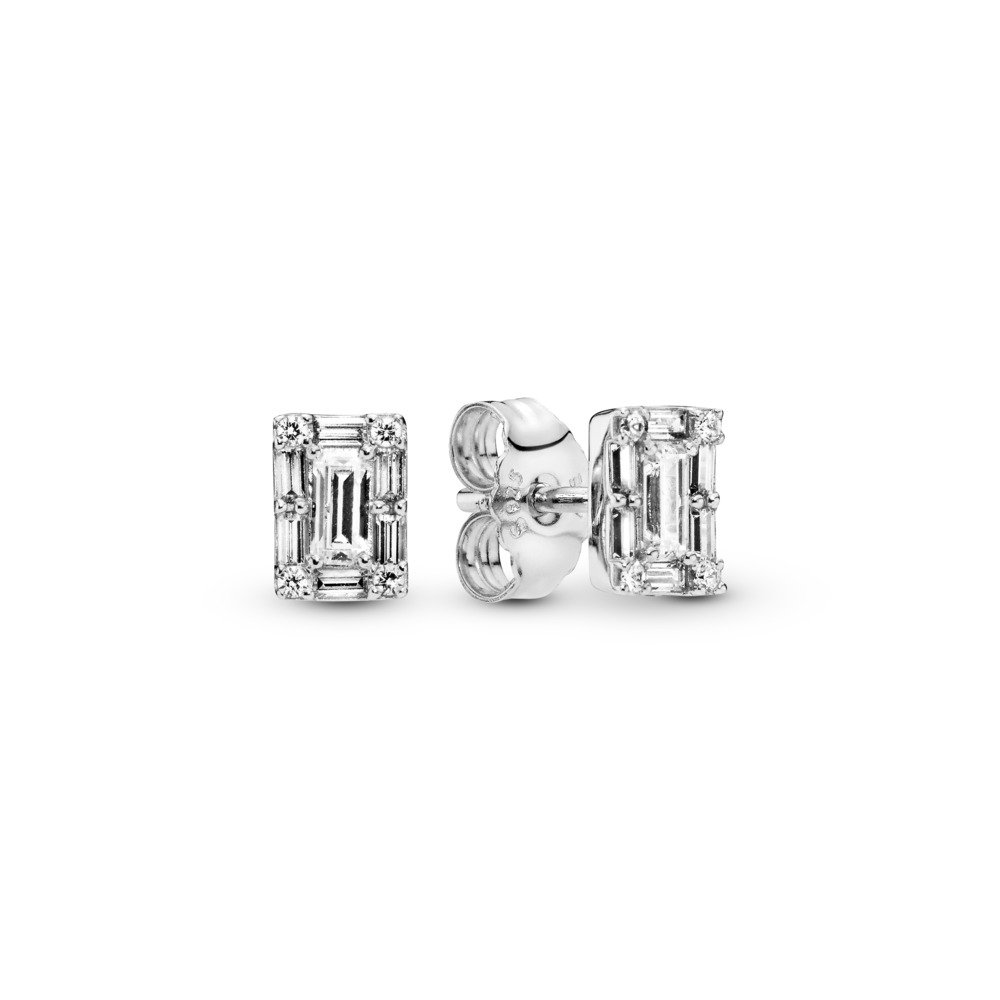 Luminous Ice Stud Earrings, Sterling silver, Cubic Zirconia - PANDORA - #297567CZ
