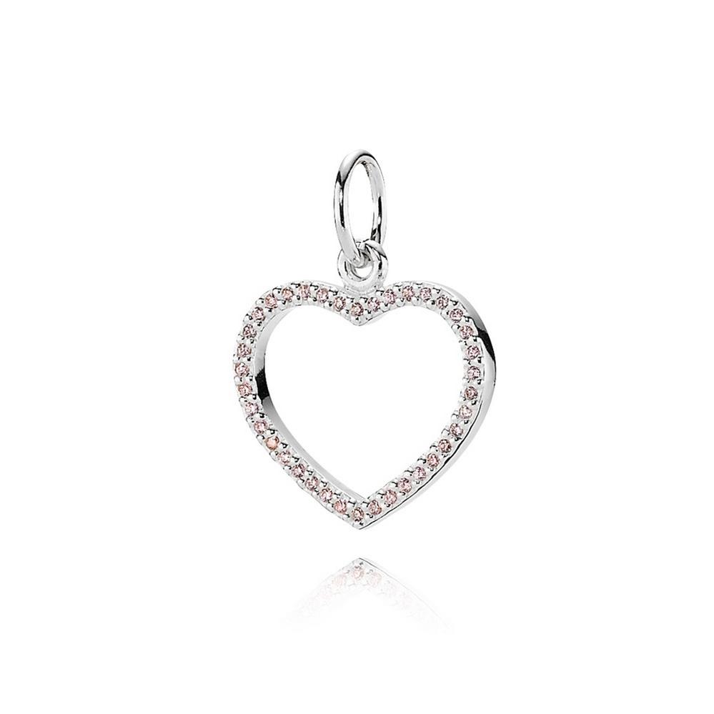 Be My Valentine Heart Pendant, Pink CZ