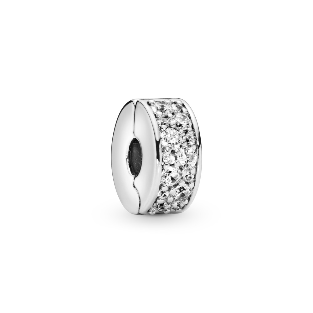 Shining Elegance Clip, Clear CZ, Sterling silver, Silicone, Cubic Zirconia - PANDORA - #791817CZ