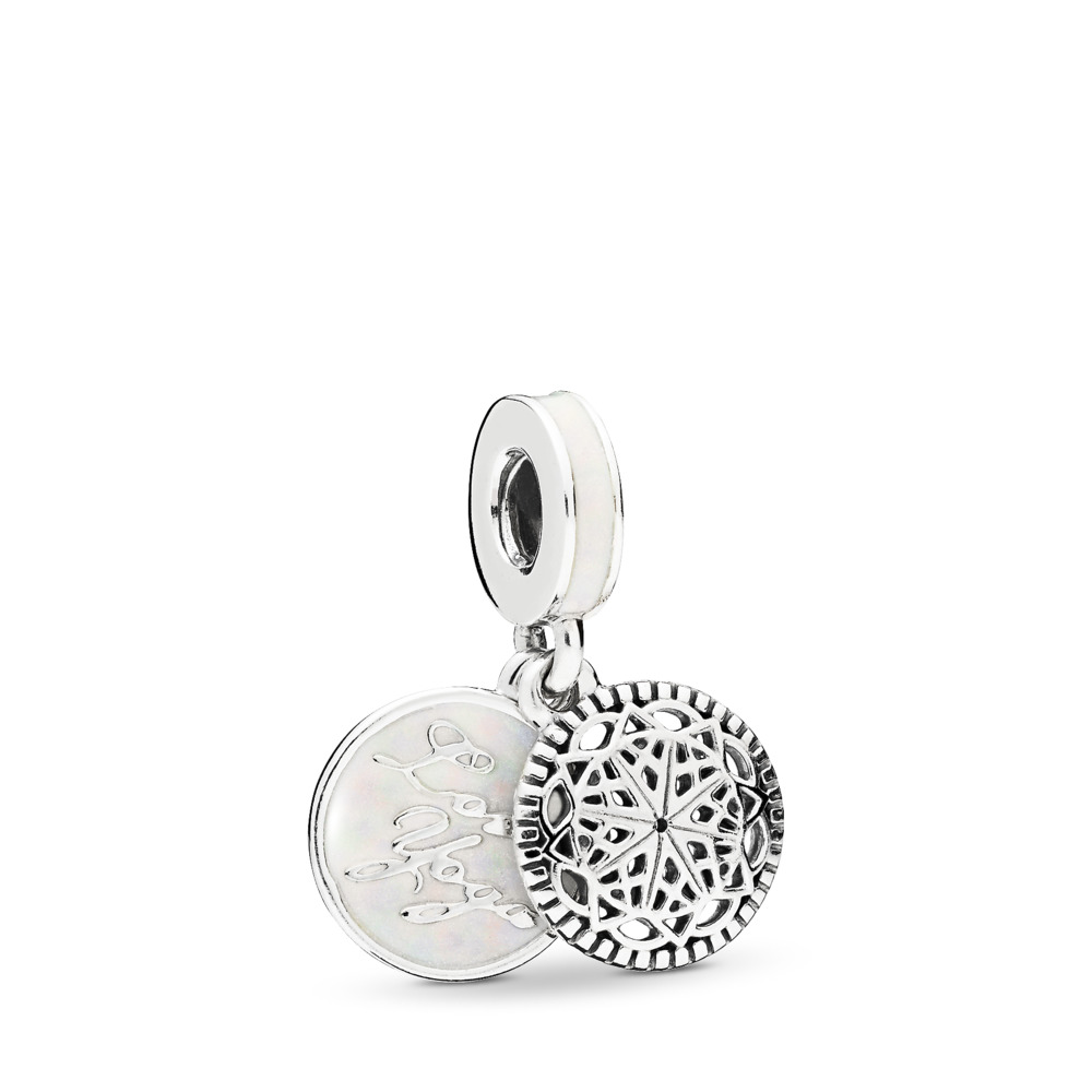 True Yoga, Silver Enamel, Sterling silver, Enamel, White - PANDORA - #796205EN23