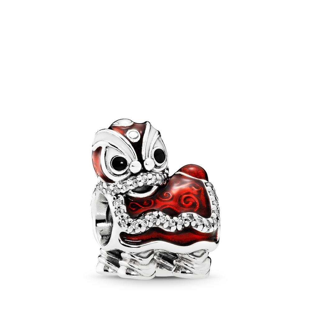 Chinese Lion Dance, Sterling silver, Enamel, Black, Cubic Zirconia - PANDORA - #792043CZ