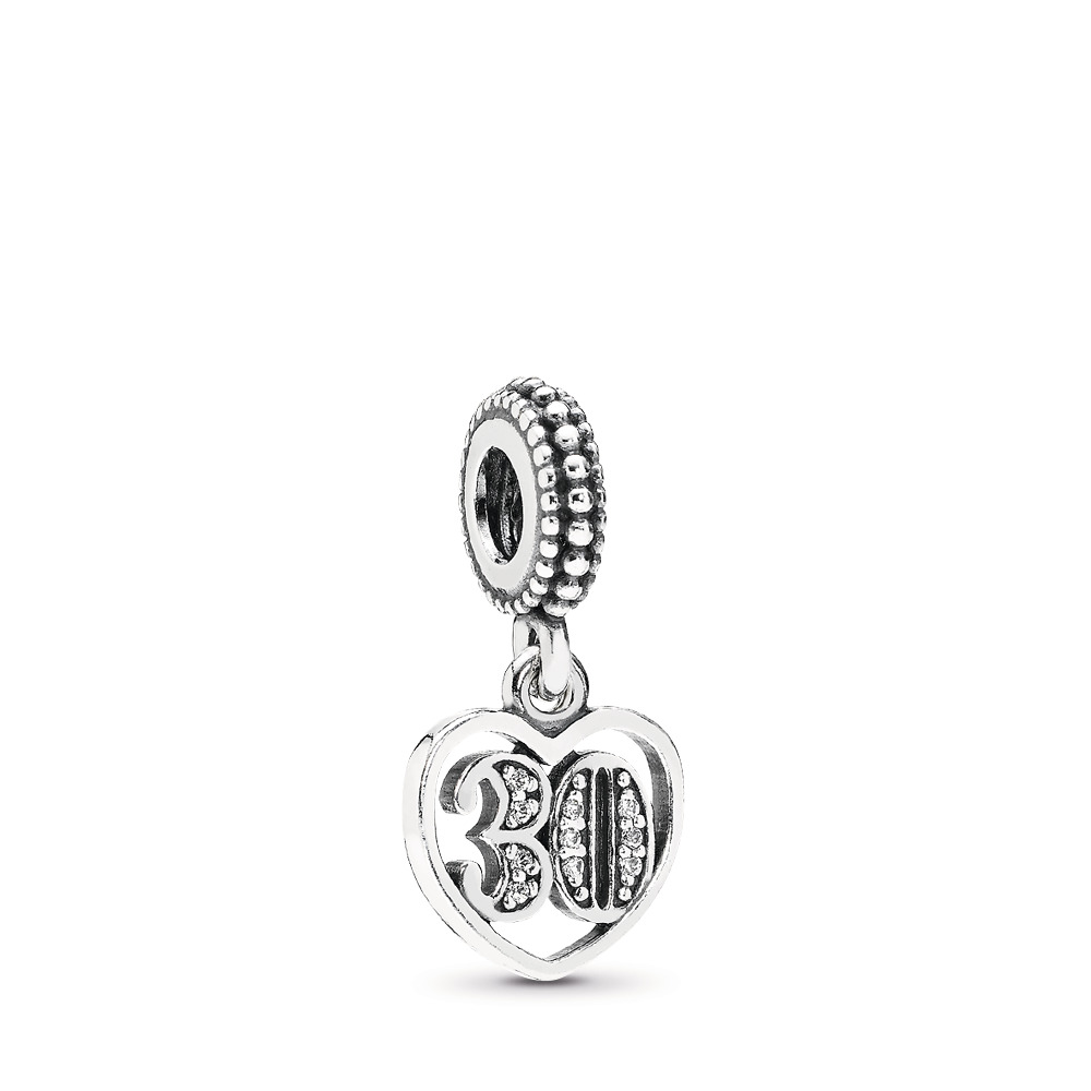 30 Years Of Love, Clear CZ, Sterling silver, Cubic Zirconia - PANDORA - #791287CZ