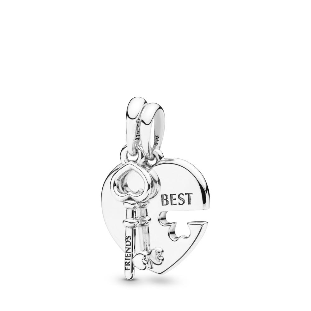 Limited Edition Best Friends Heart & Key Split Pendant, Sterling silver - PANDORA - #398130