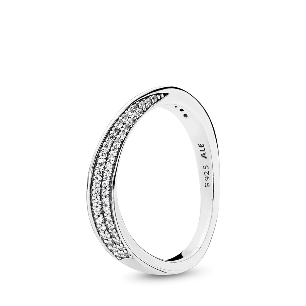 Elegant Waves Ring, Clear CZ, Sterling silver, Cubic Zirconia - PANDORA - #197136CZ