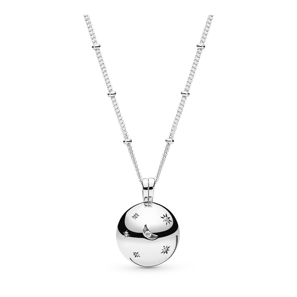 Collier Lune et étoiles, Argent sterling, Aucun autre matériel, Aucune couleur, Zircon cubique - PANDORA - #397537CZ