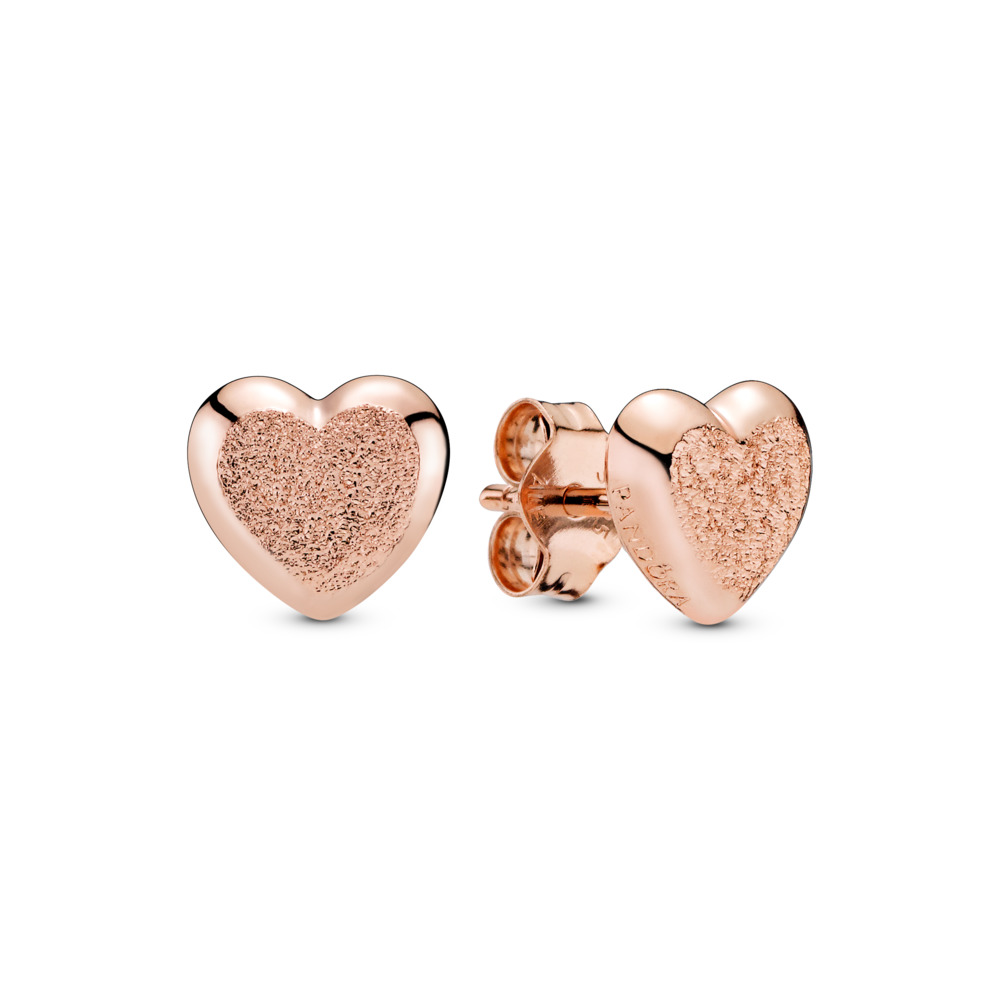 Matte Brilliance Hearts Stud Earrings, PANDORA Rose - PANDORA - #287928