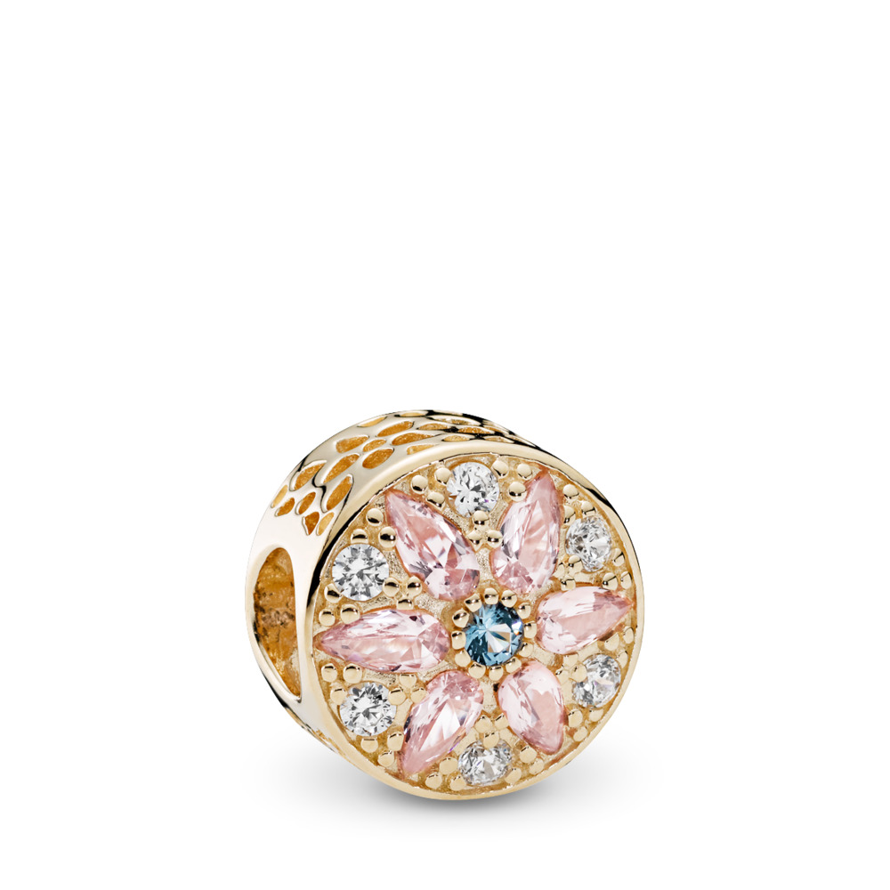 Opulent Floral, Multi-Colored Crystals & Clear CZ, Yellow Gold 14 k, Blue, Mixed stones - PANDORA - #751003NBP