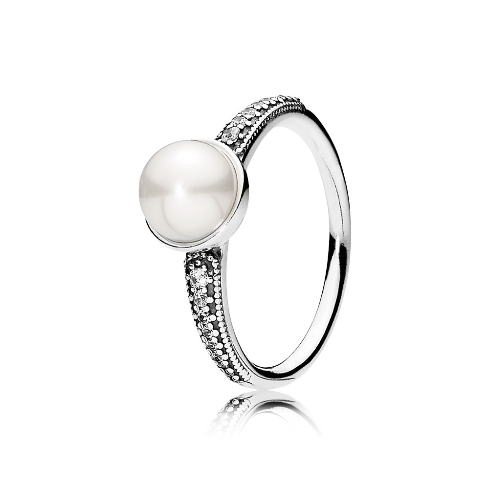 Elegant Beauty, White Pearl & Clear CZ