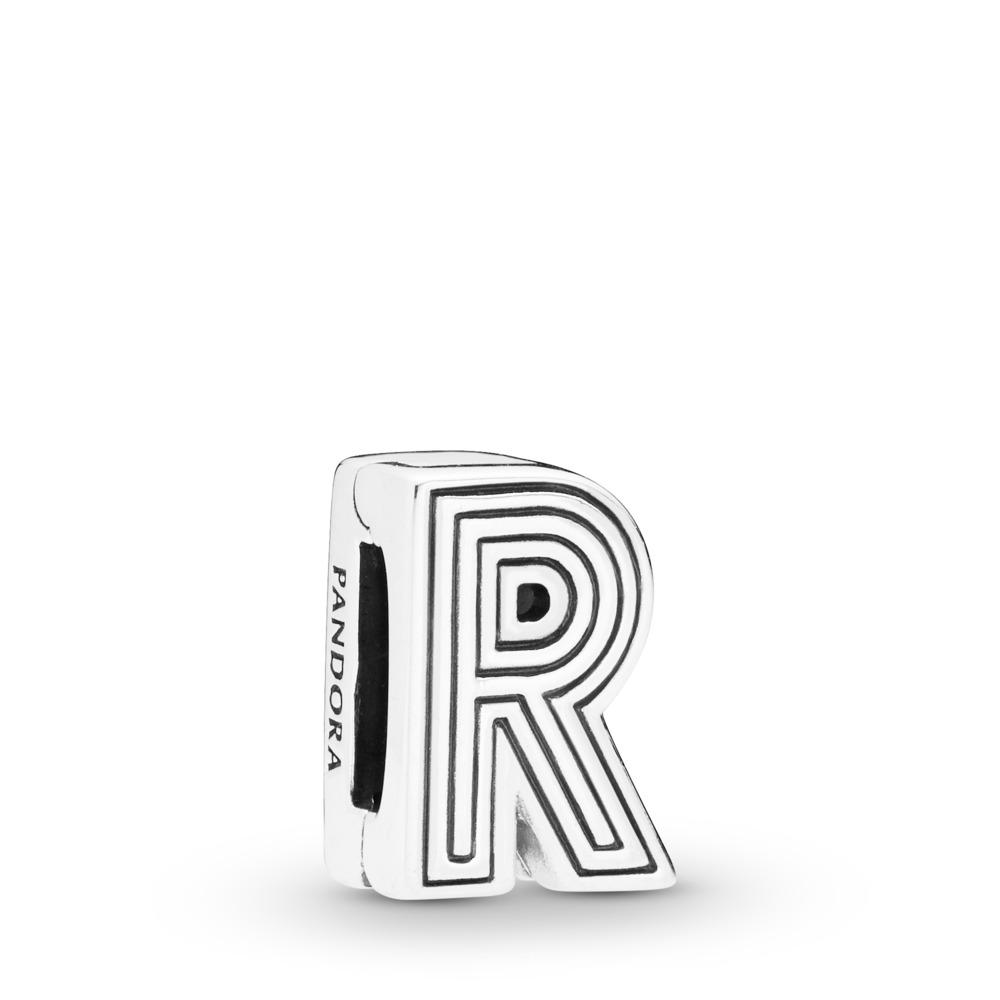 Charm Lettre R Pandora Reflexions, Argent sterling, Silicone, Aucune couleur, Aucune pierre - PANDORA - #798214