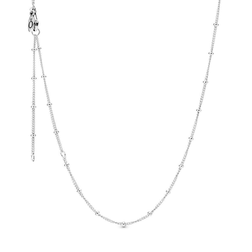 Silver Beaded Necklace Chain
