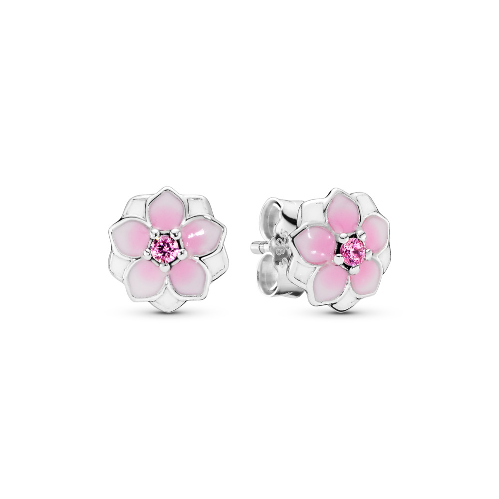 527a1fe7f Pink Magnolia Flower Stud Earrings, Sterling silver, Enamel, Pink, Cubic  Zirconia -