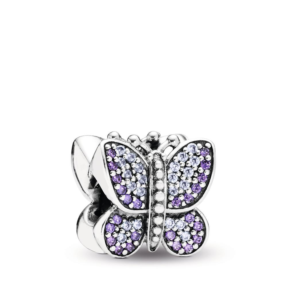 Papillon brillant, cz mauve, Argent sterling, Aucun autre matériel, Mauve, Zircon cubique - PANDORA - #791257ACZ