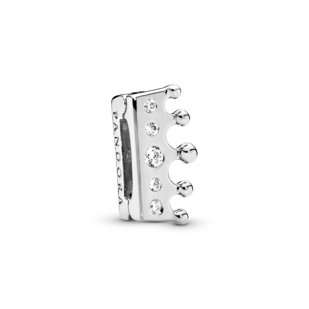 PANDORA Reflexions™ Crown Charm, Clear CZ, Sterling silver, Silicone, Cubic Zirconia - PANDORA - #797599CZ