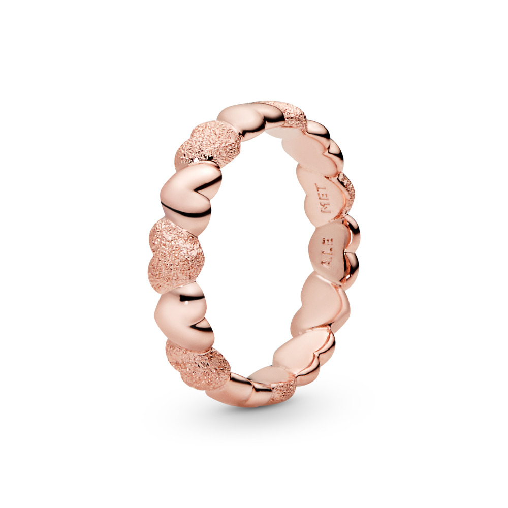 Matte Brilliance Hearts Ring, PANDORA Rose - PANDORA - #187950