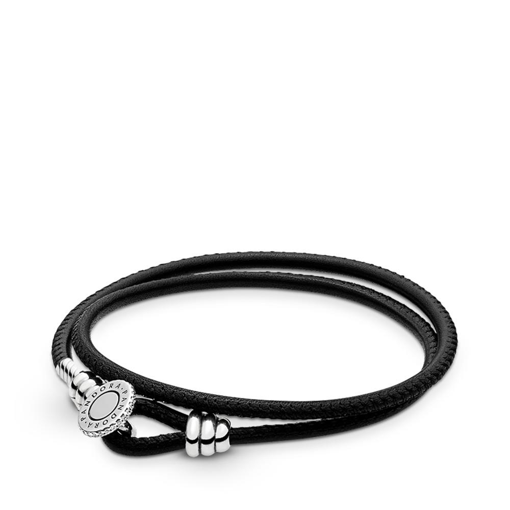 Double bracelet en cuir noir, cz incolore, Argent sterling, Cuir, Zircon cubique - PANDORA - #597194CBK-D