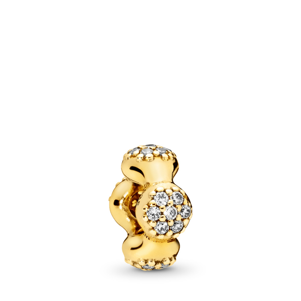 Modern LovePods™ PANDORA Shine™ Spacer, Clear CZ, 18ct gold-plated sterling silver, Cubic Zirconia - PANDORA - #767292CZ