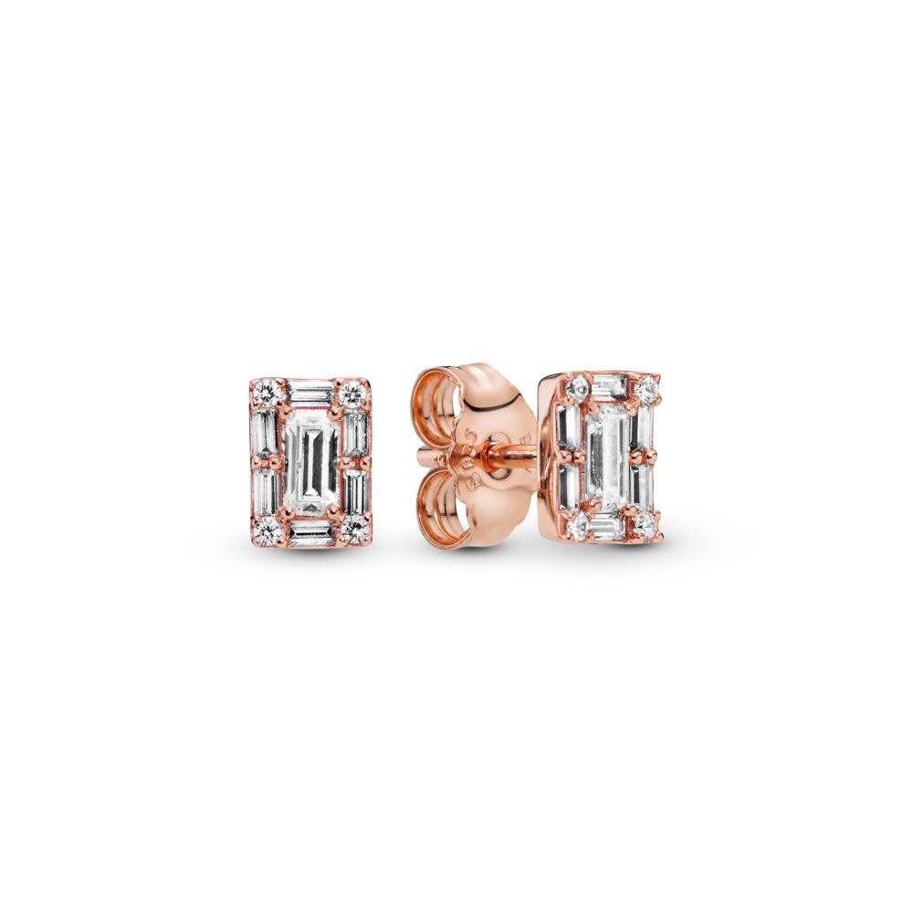 Luminous Ice Stud Earrings, PANDORA Rose™, PANDORA Rose, Cubic Zirconia - PANDORA - #287567CZ