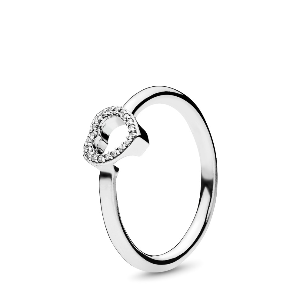 Puzzle Heart Frame, Clear CZ, Sterling silver, Cubic Zirconia - PANDORA - #196549CZ