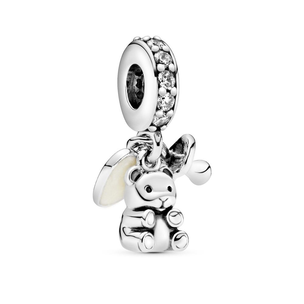 Baby Treasures, Clear CZ, Sterling silver, Enamel, White, Cubic Zirconia - PANDORA - #792100CZ