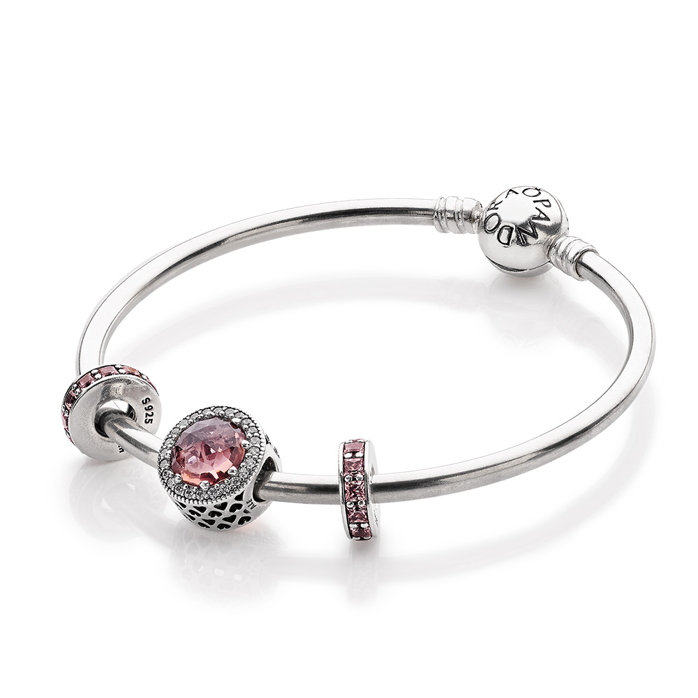 Ensemble bracelet et charm Teintes rosées scintillantes