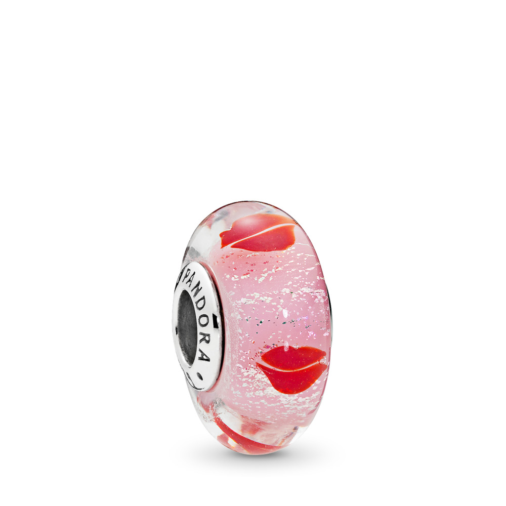 Kisses All Around Charm, Sterling silver, Glass, Pink - PANDORA - #796598