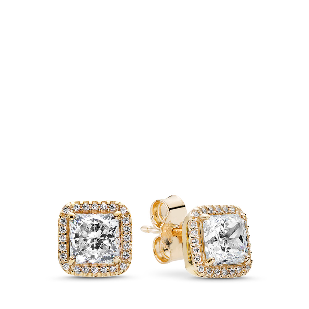 Timeless Elegance, 14K Gold & Clear CZ, Yellow Gold 14 k, Cubic Zirconia - PANDORA - #250327CZ