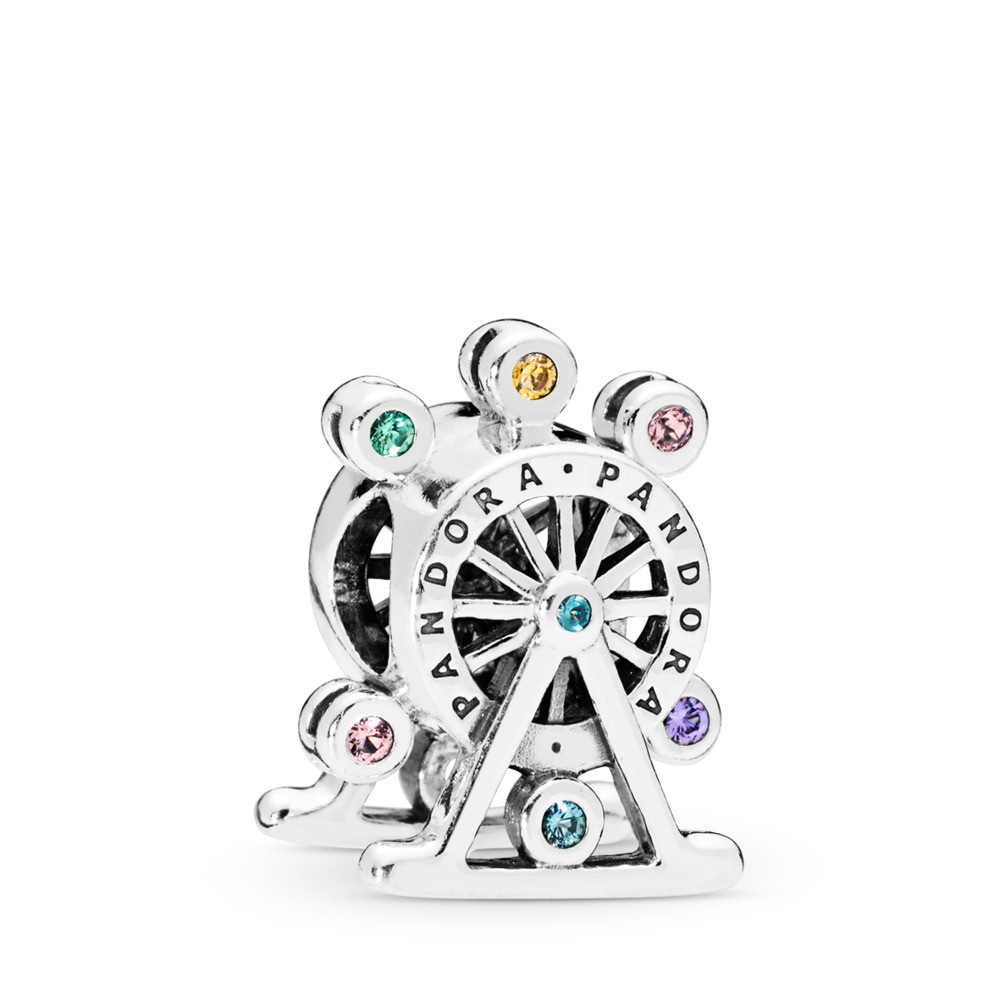 Ferris Wheel Charm, Multi-coloured Crystal, Sterling silver, Blue, Mixed stones - PANDORA - #797199NLCMX