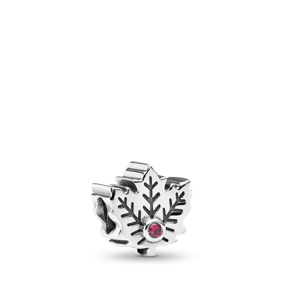 Maple Leaf, Synthetic Ruby, Sterling silver, Grey, Synthetic Ruby - PANDORA - #791215SRU