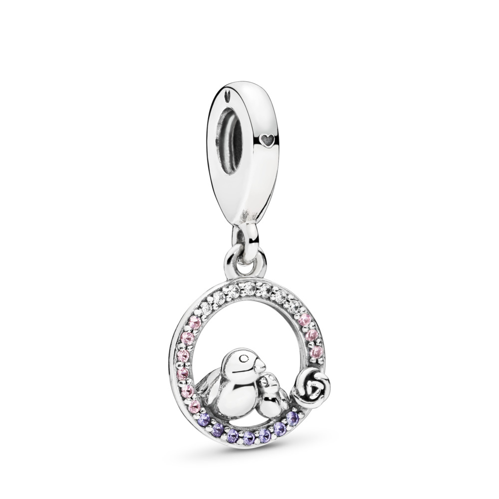 Mother & Baby Bird Dangle Charm, Soft Pink & Lilac Crystals & Clear CZ, Sterling silver, Pink, Mixed stones - PANDORA - #797060NPRMX