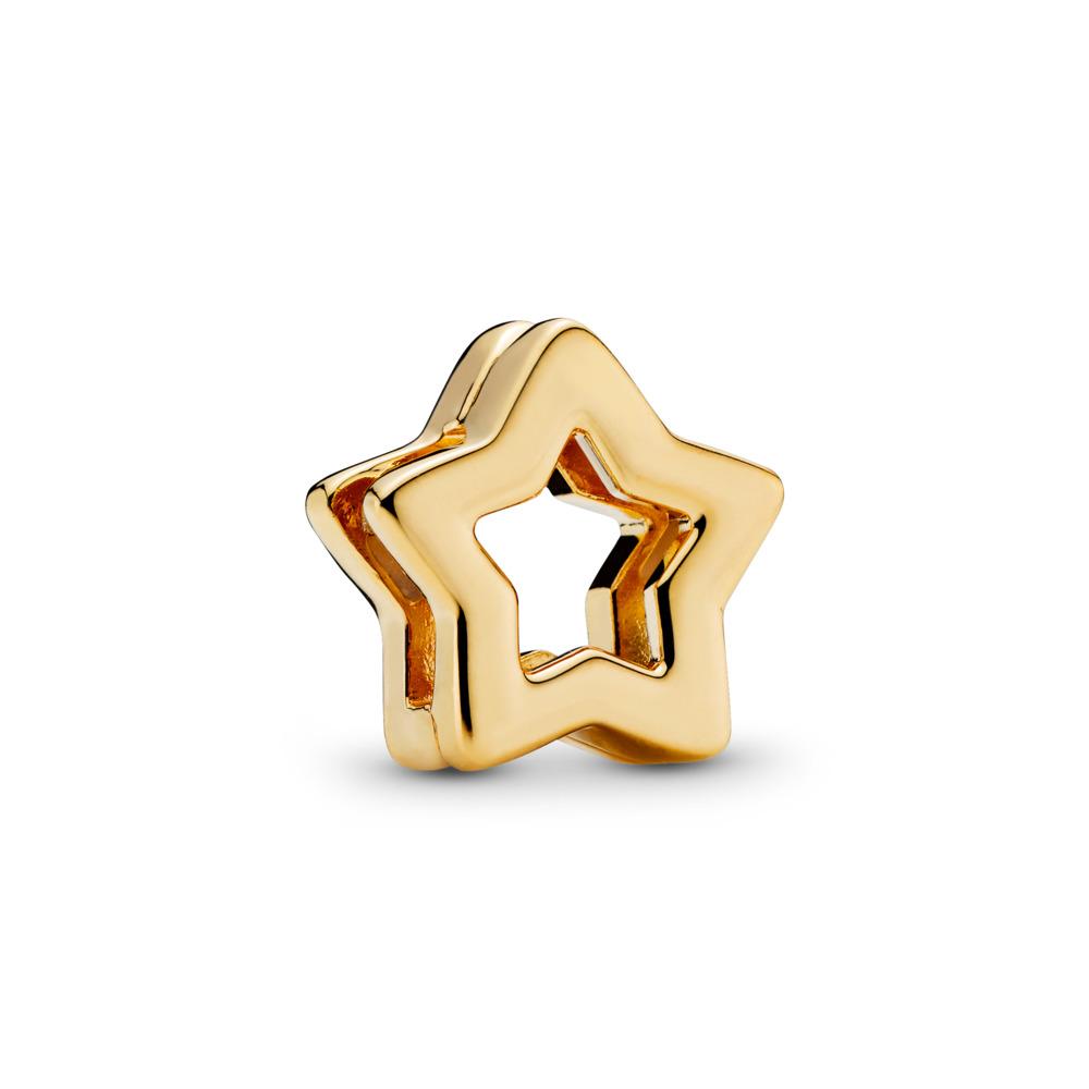 PANDORA Reflexions™ Sleek Star Charm, PANDORA Shine™, 18ct gold-plated sterling silver, Silicone - PANDORA - #767544
